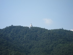 View of World Peace Pagoda from Pokhara