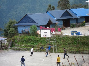 A basketball court at 3000 meters. Could this be the highest court in the land? *Note that they are actually playing football (soccer)!