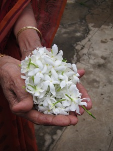 My Aunt Holding Flowers From Her Garden