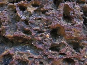 Brick worn down over centuries.