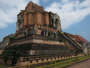 """Chedi"" (another name for stupa) at Wat Chedi Luang, in the center of Chiang Mai. This chedi was completed in 1441."