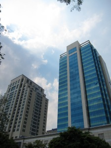 Newer buildings in Yangon.