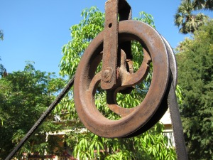 Pulley at monastery well.