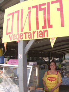 The proprietress of Khrua 14 Vegetarian Restaurant in Mae Sot, Thailand. Great Food!