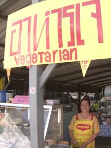 The proprietress of Khrua 14 Vegetarian Restaurant in Mae Sot, Thailand. Great Food!