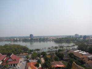 View from top of stupa, Wat Nong Wang, Khon Kaen, Thailand.