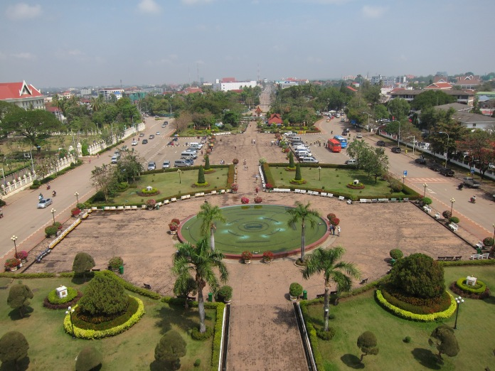View from the top of the Victory Monument, Vientiane.