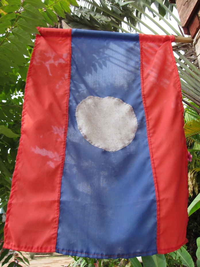 The national flag of Laos.