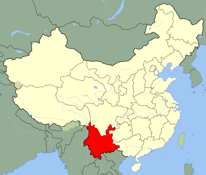 Public domain map of China, with Yunnan province highlighted in red.