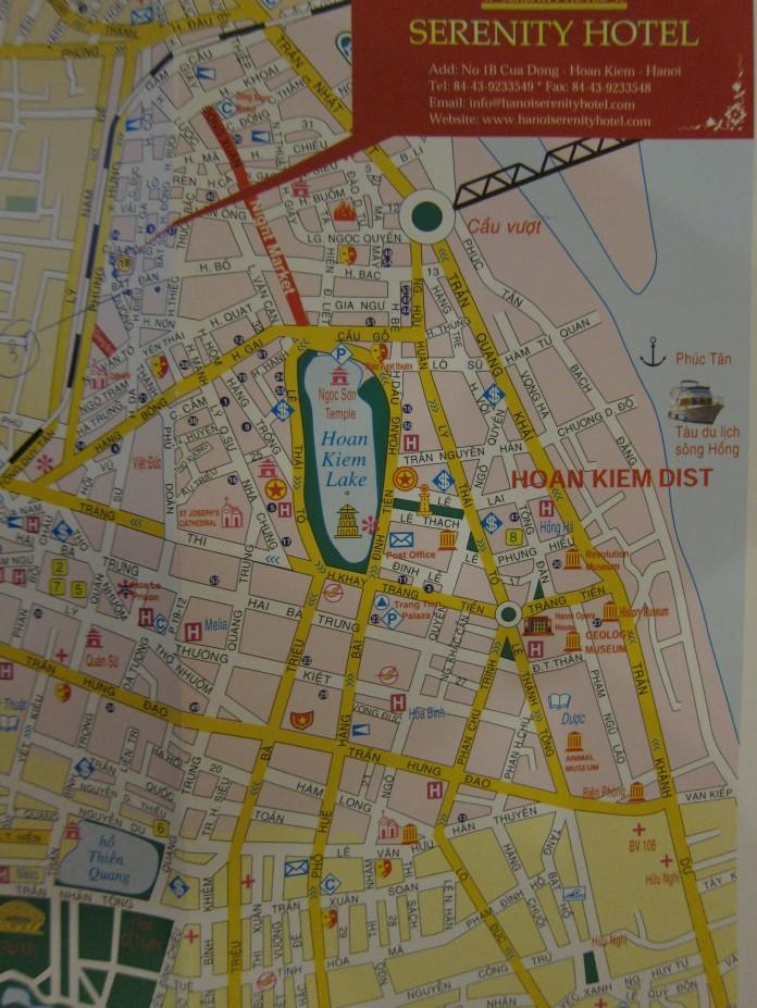 Map of Old Quarter, Hanoi, Vietnam.