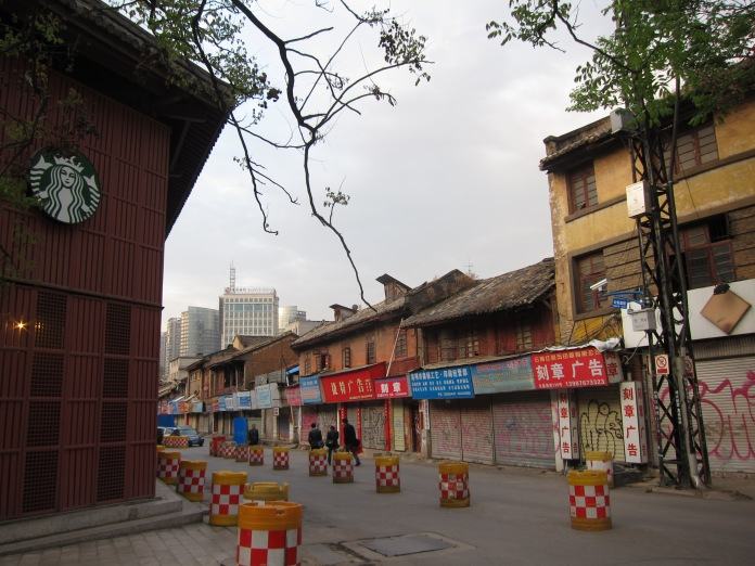 The old and the new, Kunming. Yes, that is a Starbucks on the left.