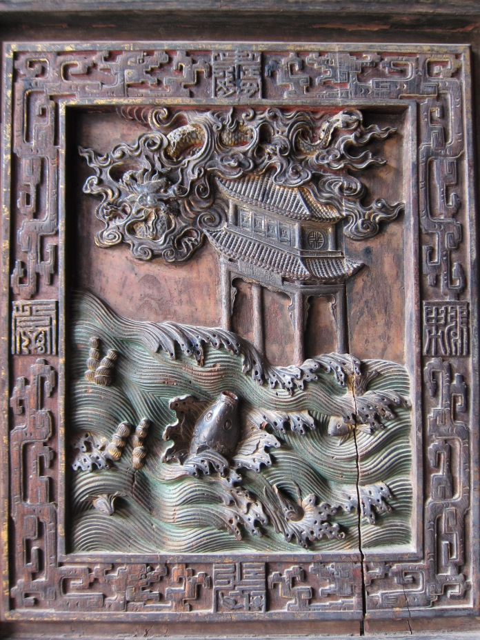 Detail of carved door panel, Confucius Temple.