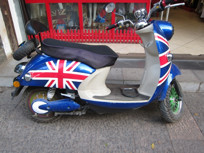 Electric scooter, Jianshui. The Union Jack was by far the most popular color scheme!