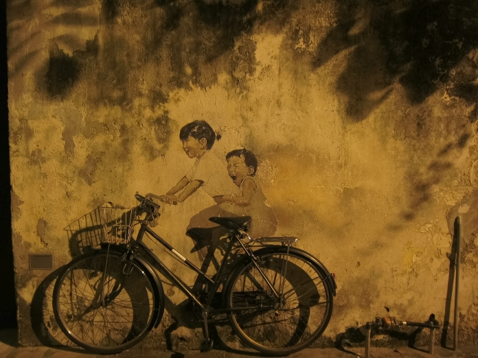 Children on a bicycle!